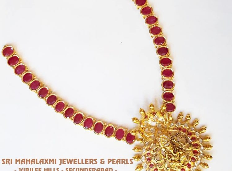 royal ruby and ganesh pendant necklace