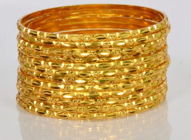 Light weight gold bangles set 12 bangles